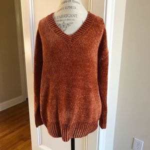 Boutique Cozy Velvet Sweater New Olive Green V Neck Chenille Fall FAVE